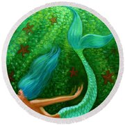 Diving Mermaid Fantasy Art Round Beach Towel by Sue Halstenberg