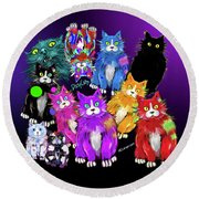 Round Beach Towel featuring the painting Dizzycats by DC Langer