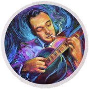 Round Beach Towel featuring the painting Django Reinhardt  by Robert Phelps
