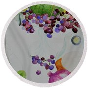 Round Beach Towel featuring the painting Django's Grapes by Beverley Harper Tinsley