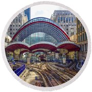 Dlr Canary Wharf And Approaching Train Round Beach Towel