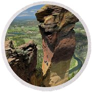 Round Beach Towel featuring the photograph Dm5314 Climbers On Monkey Face Rock Or by Ed Cooper Photography