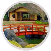 Do-00006 Cypress Bridge And Tea House Round Beach Towel
