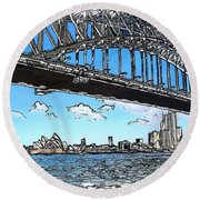 Round Beach Towel featuring the photograph Do-00058 Sydney Harbour Bridge And Opera House by Digital Oil