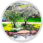 Round Beach Towel featuring the photograph Do-00066 Lake Walk by Digital Oil