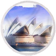 Round Beach Towel featuring the photograph Do-00109 Opera House by Digital Oil