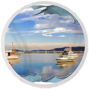 Round Beach Towel featuring the photograph Do-00115 Boats In Gosford by Digital Oil