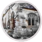 Round Beach Towel featuring the photograph Do-00116 Church In Morpeth by Digital Oil