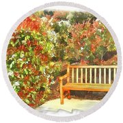Round Beach Towel featuring the photograph Do-00122 Inviting Bench by Digital Oil