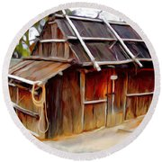 Round Beach Towel featuring the photograph Do-00129 Old Cottage by Digital Oil