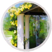 Round Beach Towel featuring the photograph Do-00137 Yellow Roses by Digital Oil