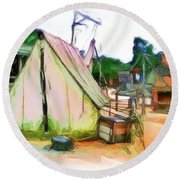 Round Beach Towel featuring the photograph Do-00139 Tent by Digital Oil