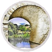 Round Beach Towel featuring the photograph Do-00262 Richmond Bridge by Digital Oil