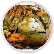 Round Beach Towel featuring the photograph Do-00268 Trees On Water In Avoca Estuary by Digital Oil