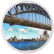 Round Beach Towel featuring the photograph Do-00284 Sydney Harbour Bridge And Opera House by Digital Oil