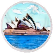 Round Beach Towel featuring the photograph Do-00293 Sydney Opera House by Digital Oil