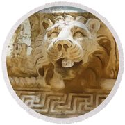 Do-00313 Lion Water Feature Round Beach Towel