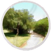 Round Beach Towel featuring the photograph Do-00336 -pathway Bois Des Pins by Digital Oil