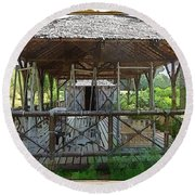 Round Beach Towel featuring the photograph Do-00341 Cabin Outdoor Bois Des Pins by Digital Oil