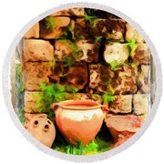 Round Beach Towel featuring the photograph Do-00348 Jars In Byblos by Digital Oil