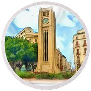 Do-00358 The Clock Tower Round Beach Towel