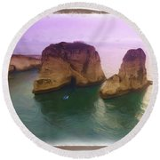 Do-00404 Grotte Aux Pigeons Round Beach Towel