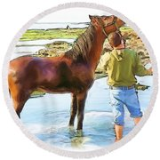 Do-00421 Washing Horse In Mina Round Beach Towel