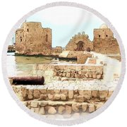 Do-00423 Citadel Of Sidon Round Beach Towel