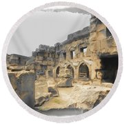 Round Beach Towel featuring the photograph Do-00452 Inside The Ruins by Digital Oil