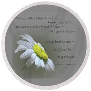 Round Beach Towel featuring the mixed media Walk Beside Me by Movie Poster Prints