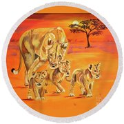 Round Beach Towel featuring the painting Do What Mom Says by Phyllis Kaltenbach