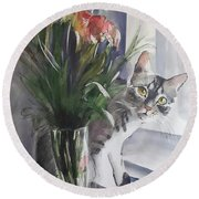 Do You See Me? Pet Portrait In Watercolor .modern Cat Art With Flowers  Round Beach Towel