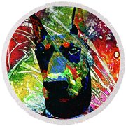 Doberman Custom Portrait Round Beach Towel