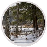 Doc Lee Rd In The Winter Round Beach Towel