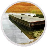 Dock And Marsh Round Beach Towel
