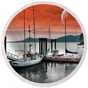 Dock And The Moon Round Beach Towel