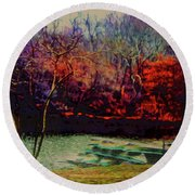Dock At Central Park Round Beach Towel by Sandy Moulder