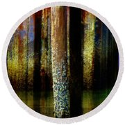 Dock At Low Tide Round Beach Towel