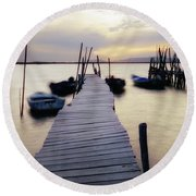Dock At Sunset Round Beach Towel