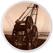 Dock Crane Round Beach Towel