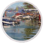 Dock In North Tonawanda Round Beach Towel