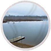 Dock On A Serene Lake Round Beach Towel