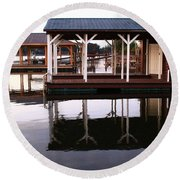 Dock Reflections Round Beach Towel