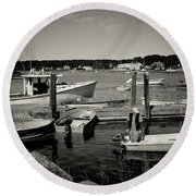 Dock Work Round Beach Towel