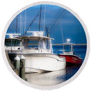 Round Beach Towel featuring the photograph Docked And Quiet by Kendall McKernon