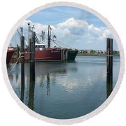Docked At Barnegat Light Round Beach Towel