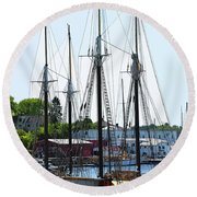 Docked Masts Round Beach Towel