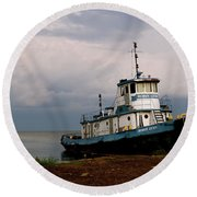 Docked On The Shore Round Beach Towel
