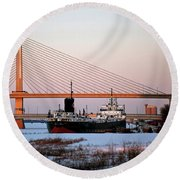 Docked Under The Glass City Skyway  Round Beach Towel
