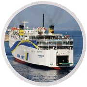 Docking Ferry On Halki Round Beach Towel